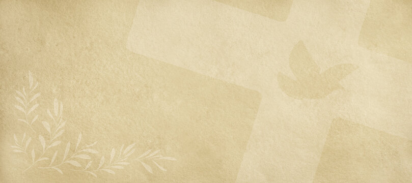 Religious beige background with cross dove and olive twigs
