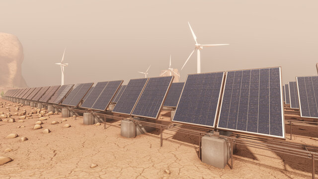 Low Angle View of Solar Panels over an Arid Region with Several Wind Turbines in the Background 3D Rendering