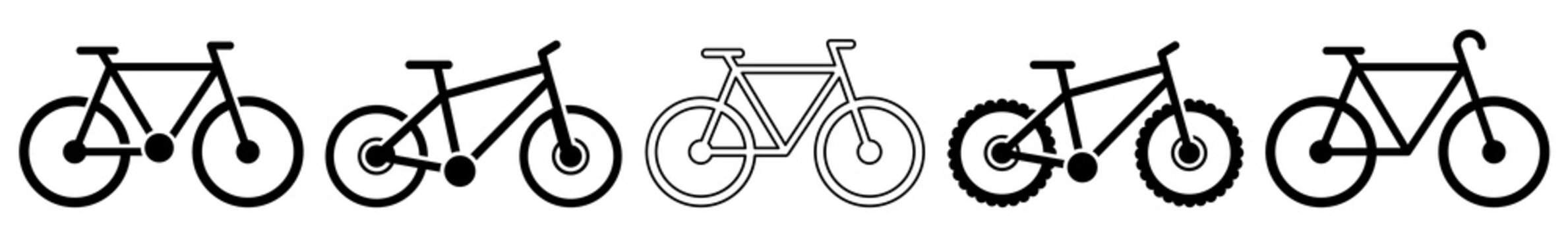 Bicycle Icon Riding Bicycle Set | Bicycles Icon Bike Vector Illustration Logo | Racing Bicycle Mountain Bicycle Icon Isolated Cycle Collection