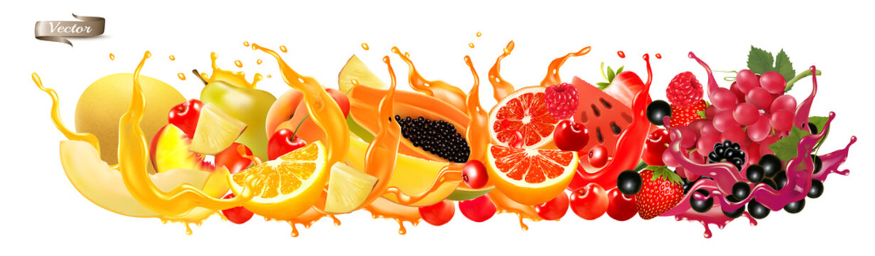 Fruit in juice splash panorama. Strawberry, raspberry, blueberry, blackberry, orange, guava, citron, grape, watermelon, honey melon, mango, peach. Vector.