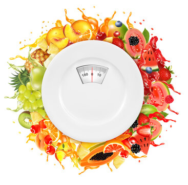 Fruit in juice splash and plate with weight scale. Diet concept. Strawberry, raspberry, blueberry, blackberry, orange, guava, watermelon, pineapple, mango, peach, kiwi, citron, plum. Vector.