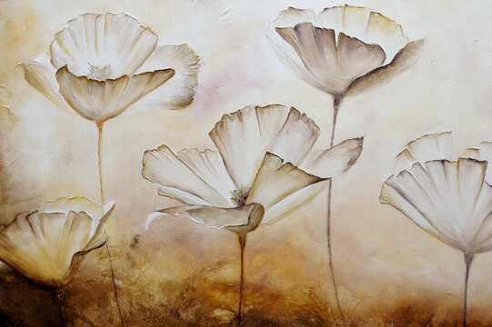 Painting poppies pastel color with texture in canvas