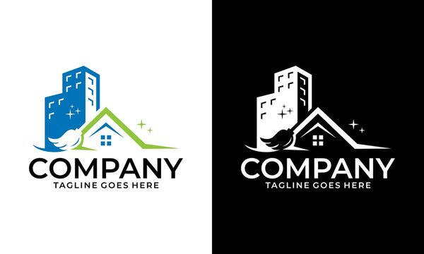 House Cleaning Vector Logo Design, Eco Friendly with shiny Home and circle Concept isolated on white Background