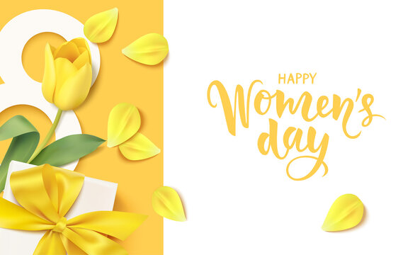 Happy Womens Day. 8 March design template. Calligraphic lettering text with decorative gift box and yellow tulip flower. Vector stock illustration