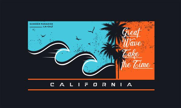 california Summer beach  Vector for T-shirt print design.