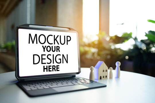 Mockup Your Design Here. Concept Real estate investment. Family planning for buying a home. Hotel or homestay rental business. Registration point