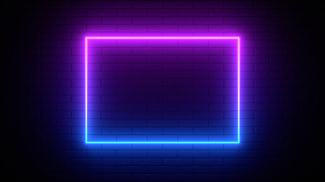 Neon sign on a brick wall. Glowing purple rectangle. Abstract background, spectrum vibrant colors. 3d render illustration.