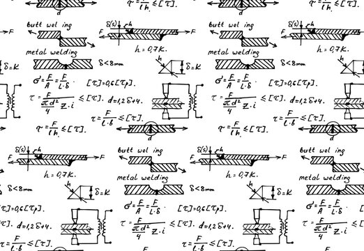 Background with physics formulas and equations. Materials - metal welding. Vintage whiteboard. Vector seamless pattern.