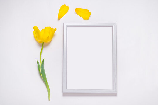 Photo frame decorated with fresh yellow tulips