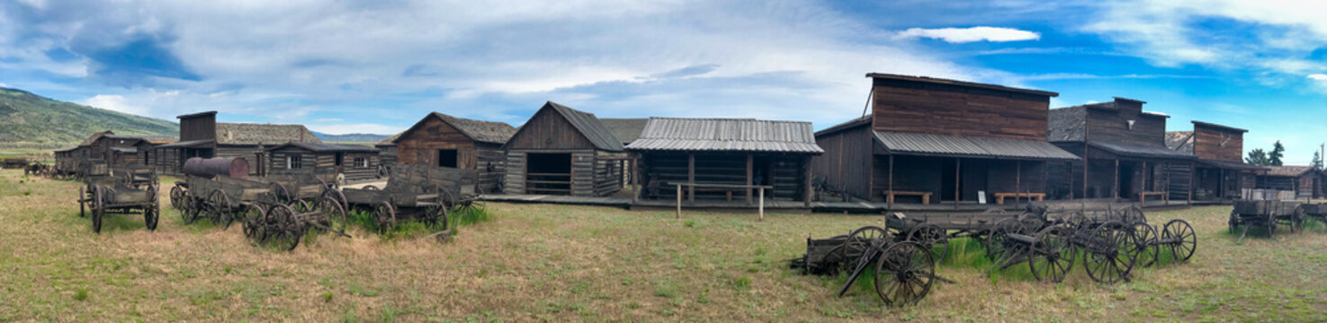 Cody, Wyoming. Wooden barracks of the Old Wild West on a summer day - Panoramic view