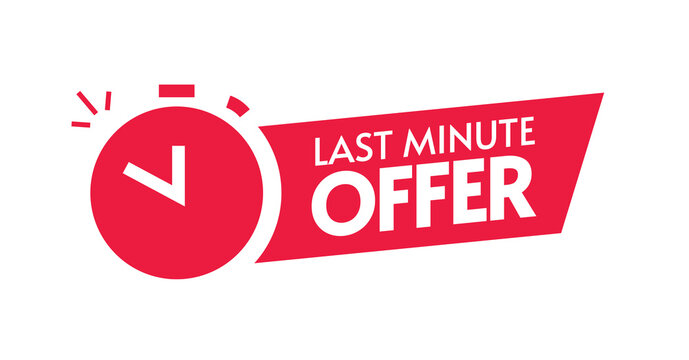 Last minute offer red color icon vector sign, discount sticker tag, left limited time period sale special promotion label, alarm clock with chance promo text symbol design isolated clipart