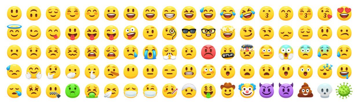 Yellow emoji faces. Happy smile emoticon icon, facial expression vector set