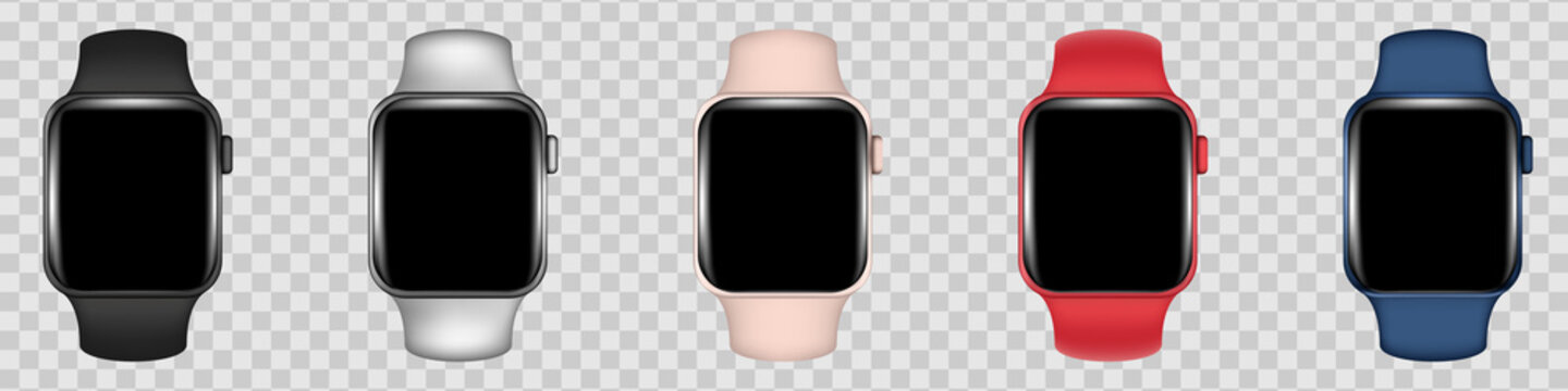 Realistic vector set of Apple watch on transparent background. Clock mockup for your design. Stock illustration EPS 10