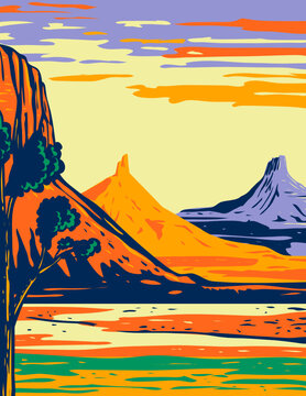 WPA poster art of the North and South Six Shooter Peak in Bears Ears National Monument located in San Juan County in southeastern Utah in works project administration or federal art project style.