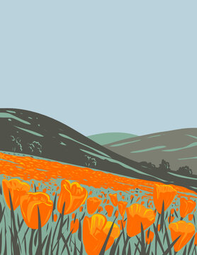 WPA poster art of the Berryessa Snow Mountain National Monument in California Coast Ranges in Napa, Yolo, Solano, Lake, Colusa, Glenn and Mendocino counties in works project administration style.