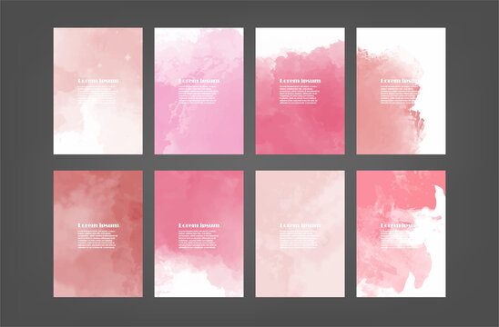 Set of pink vector watercolor backgrounds for poster, brochure or flyer, Bundle of watercolor posters, flyers or cards. Banner template.