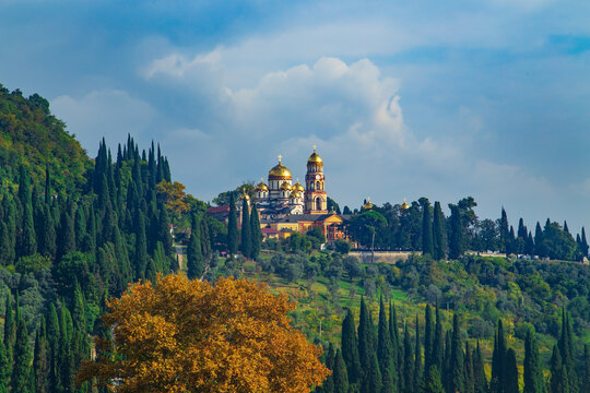 Magnificent New Athos Monastery in autumn.