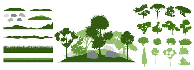 Design elements of decorative tree, collection. Constructor. Silhouettes of beautiful decorative trees, bonsai and pine, bush, other trees. Creation of beautiful landscaped garden. Vector illustration