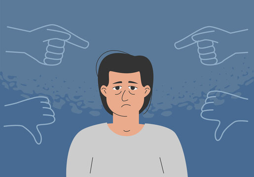 The concept of bullying, inner critic, negative self talk, low self-esteem. The sad man is surrounded by condemning gestures.