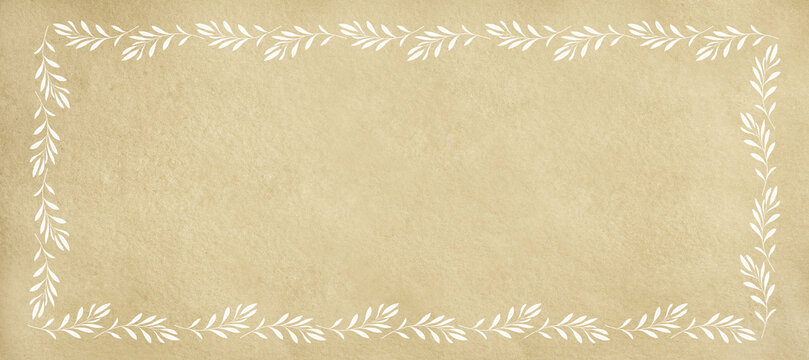 Beige background with frame of white olive twigs