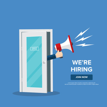 We're hiring design template business banner. Employment recruitment. Businessman holds megaphone in door of office. Open vacancy. Flat style vector illustration
