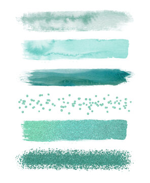 Watercolor emerald and glitter brush strokes isolated on white background. Abstract collection, elements for design.