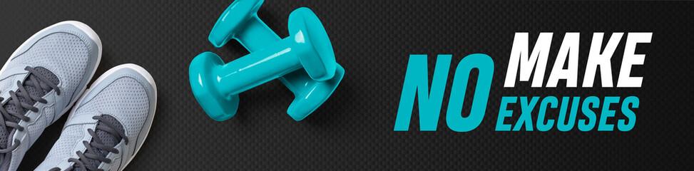 Motivational fitness header - Make no excuses