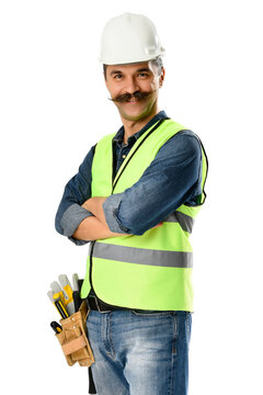 Portrait of a manual worker with moustache isolated on white background