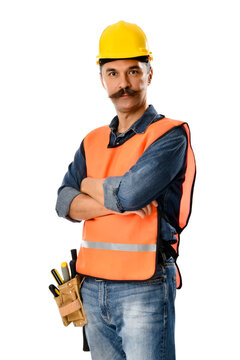 Construction worker with tool belt isolated on white background