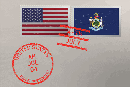 Postage stamp envelope with Maine and USA flag and 4-th July stamps, vector.