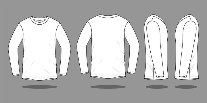 Blank White Long Sleeve T-Shirt Template Vector On Gray Background.Front, Back and Side View.