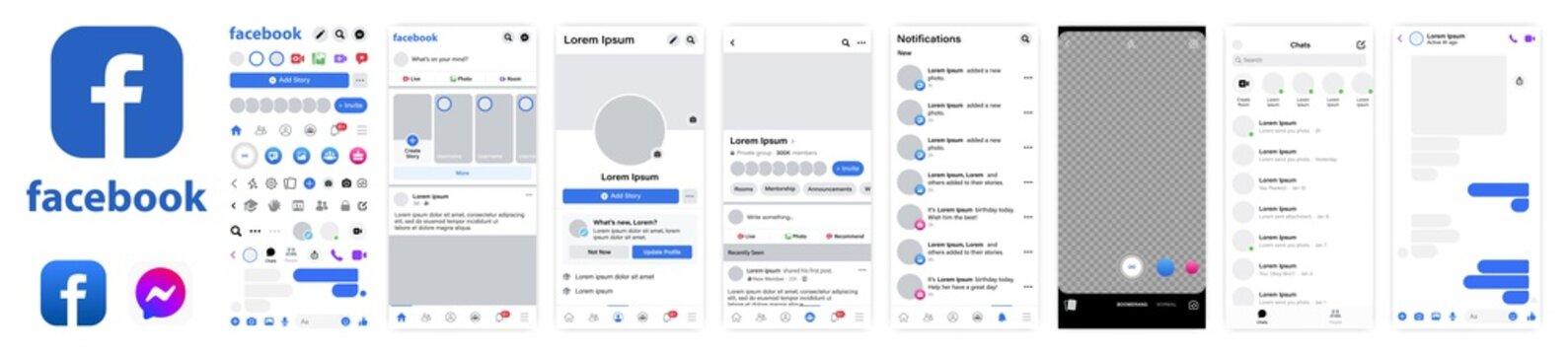 Facebook mockup. Set facebook screen social media and social network interface template. Facebook photo frame. Stories, liked, stream. Editorial vector. Vinnitsa, Ukraine - February 22, 2021