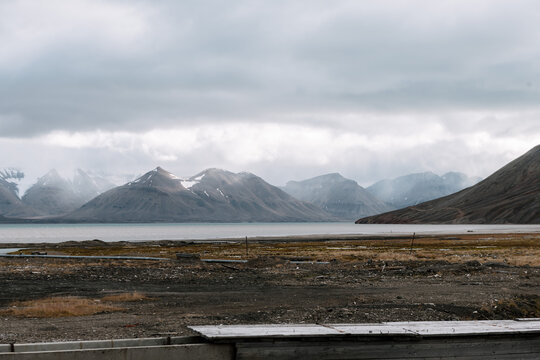 View of the distant mountains in the Ghost Town of Pyramiden, Svalbard