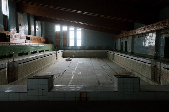 Abandoned swimming pool in the Ghost Town of Pyramiden, Svalbard