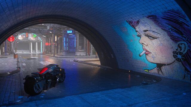 Futuristic bike in cyberpunk style city street at night.