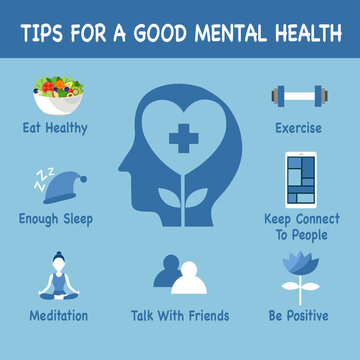 Tips for a good mental health with useful advices infographic concept vector illustration. Healthy brain and mindfulness.