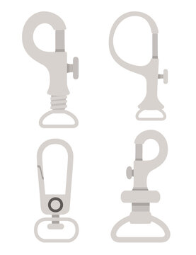 Set of metal climbing carabiners and claw clasps alpine climbing equipment flat vector illustration isolated on white background