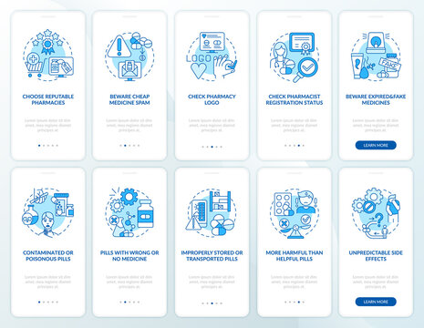 Online pharmacy onboarding mobile app page screen with concepts. Beware cheap medicine spam walkthrough 10 steps graphic instructions. UI vector template with RGB color illustrations