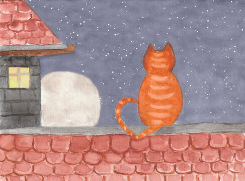 Lonely  Orange Striped  Cat at spring romantic love, wait for pair on roof at  night. Picture illustration like in book postcard watercolor paint art sketch