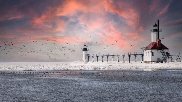 Sunset at St. Joseph Michigan Lighthouse