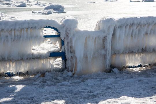 Frozen Handrail in St. Joseph Michigan