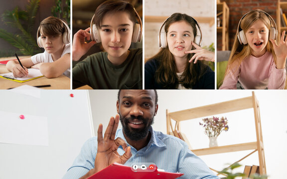 Group of kids, class studying by group video call, use video conference with each other and teacher. PC screen view with application ad. Easy, comfortable usage concept, education, online, childhood.