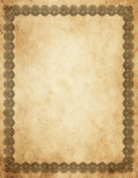 Grunge paper background with vintage border.
