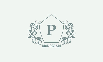 Fototapeta Vintage graceful floral monogram with initials P. Heraldic logo symbol with exclusive calligraphic design elements in gray tones. Business sign, identity for hotel, restaurant, jewelry. obraz