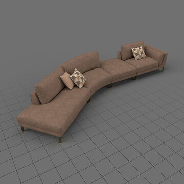 Four section sofa with cushions