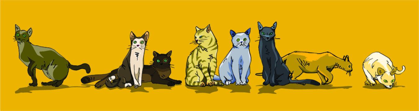 illustration vectorielle de chats et matous de différentes couleurs formant un gang sur fond jaune