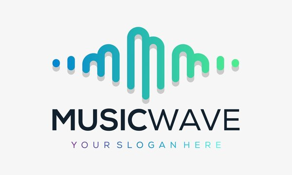 Letter m with pulse . music player element. logo template electronic music, equalizer, store, dj, nightclub, disco. audio wave logo concept, multimedia technology themed,