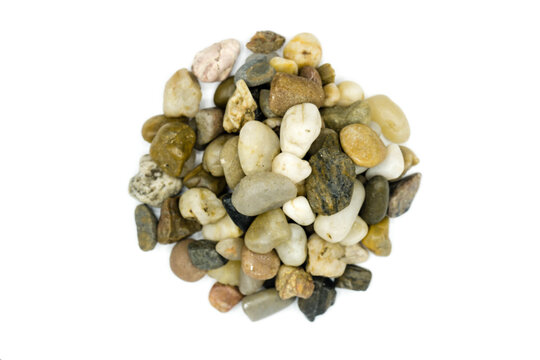 Natural stone pile isolated on white background top view
