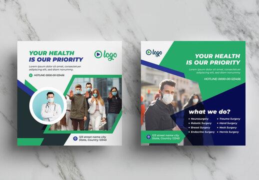 Medical Health Social Media Layout Pack
