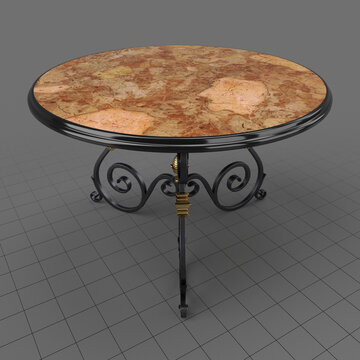 Round wrought iron table